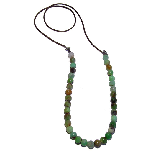 Chrysoprase Necklace Designer Brown Cotton Cord Genuine Green Stone