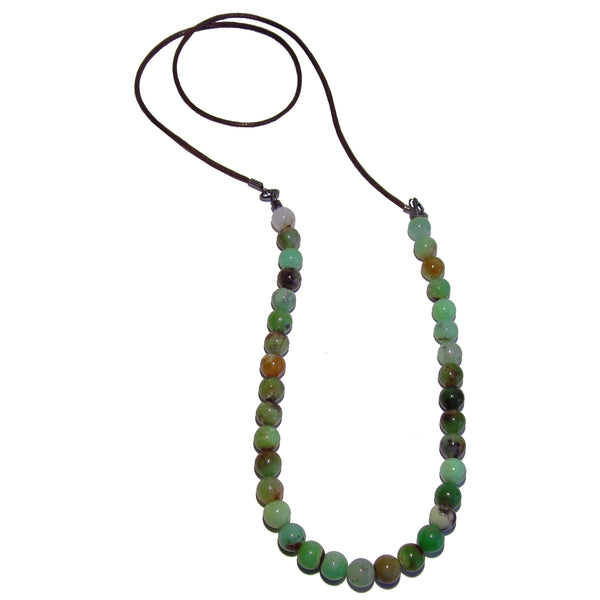 Chrysoprase Necklace 8mm Boutique Brown Cotton Cord Genuine Green Stone Designer B01