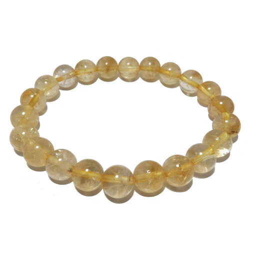 Citrine Bracelet 7mm Yellow Round Stretch Happy Golden Confidence Crystals