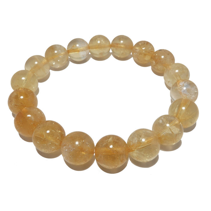 yellow citrine beaded stretch bracelet in 9-10mm bead size