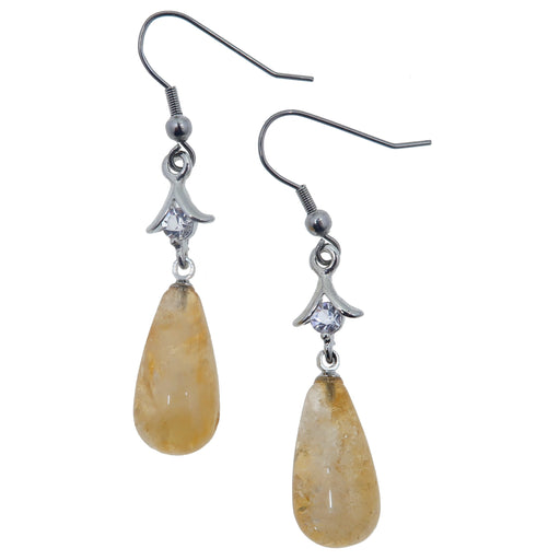 "Citrine Earrings 2.1"" Dazzling Yellow Drop Crystals Elegant Business Succes Stones Dangle 01"