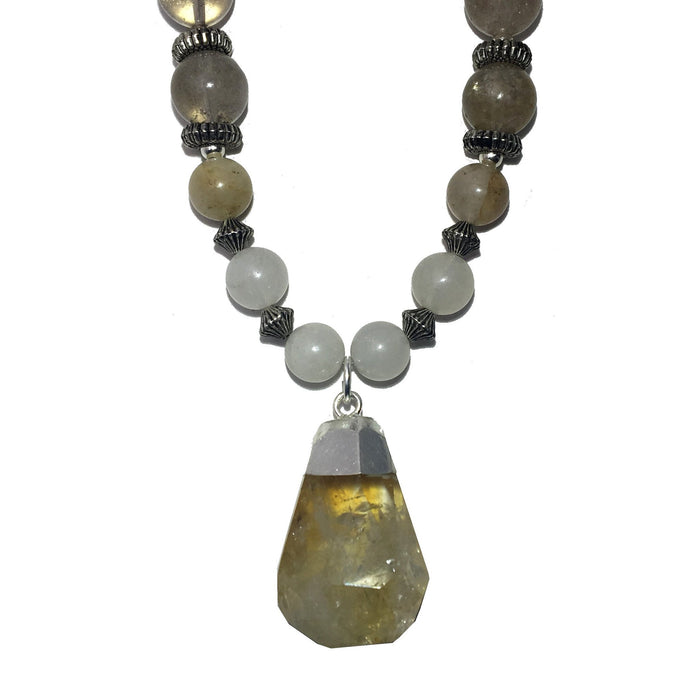 Citrine Necklace 26 Rutilated Quartz Chunky Gemstone Beaded - I Dig Crystals