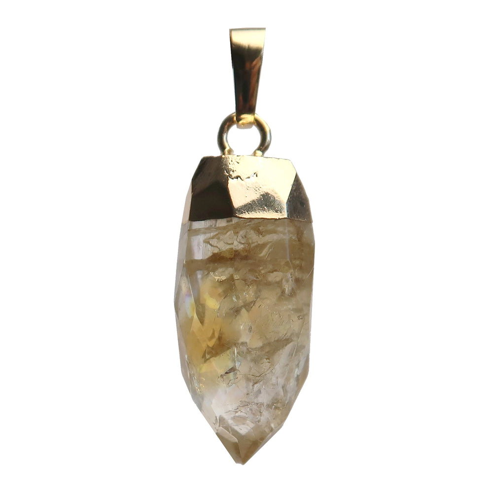 "Citrine Pendant 1.5"" Boutique Faceted Yellow Sparkling Gemstone Healing Point"