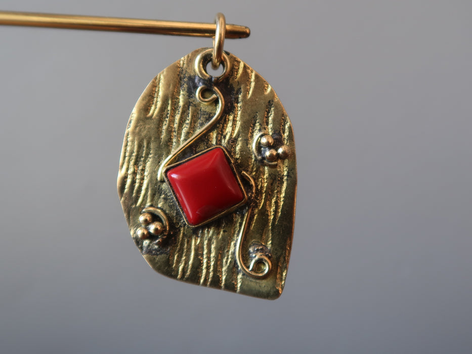 Coral Pendant Red Square Gem Ripple Textured Tibetan Charm