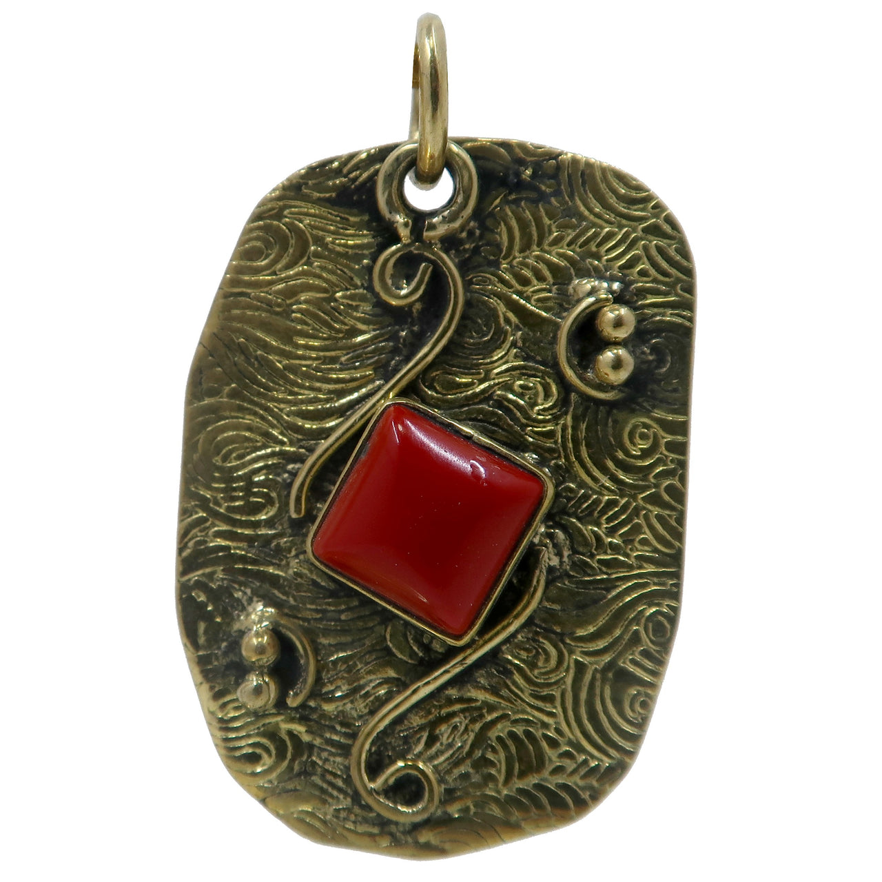 Coral Pendant Boutique Red Square Gemstone Textured Tibetan Brass Charm B01 (Wave)