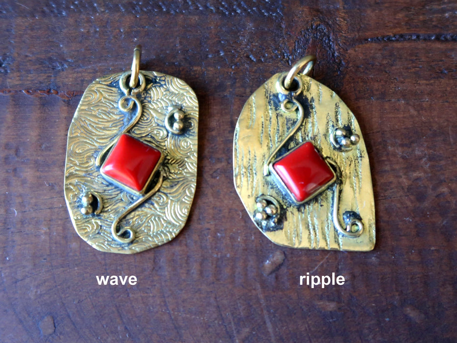 Coral Pendant Boutique Red Square Gemstone Textured Tibetan Brass Charm B01 (Ripple)