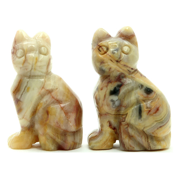 "Agate Crazy Lace Animal Cat Set 1.5"" Premium Yellow Calico Feline Stone Figurine Pair 01z"