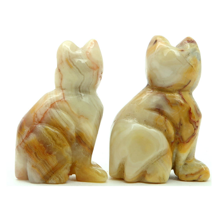 Agate Crazy Lace Cat Set Yellow Calico Stone Pair Spirit Animals