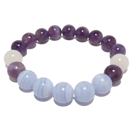blue lace agate, rose quartz, amethyst stretch bracelet for sleep