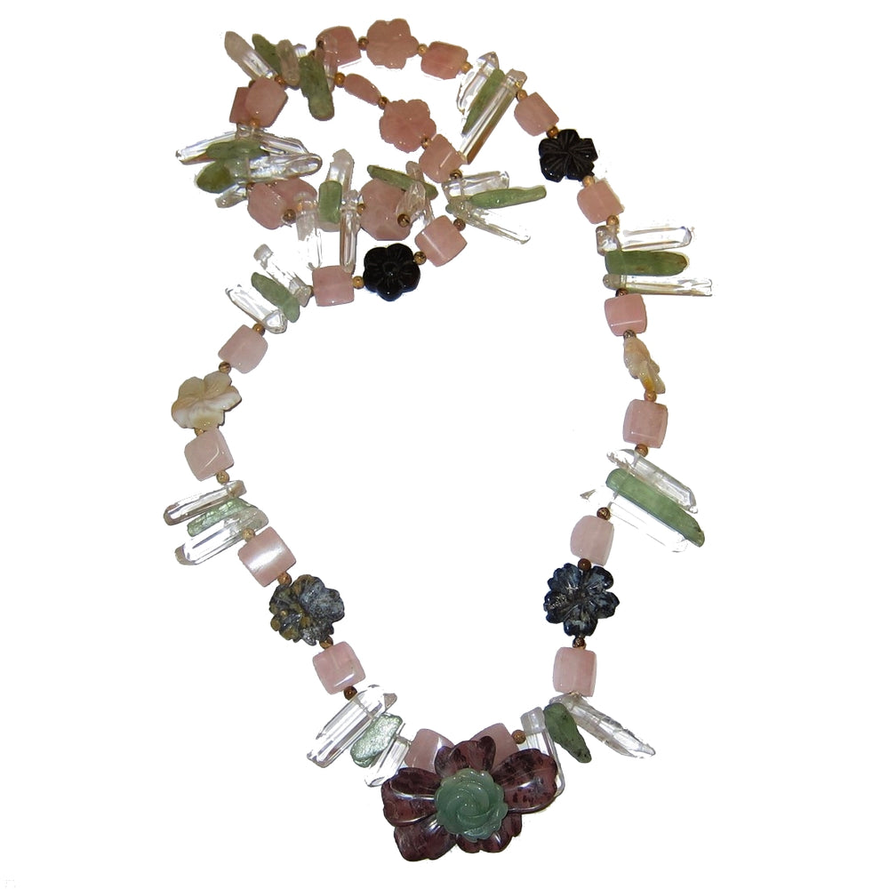 Crystal Medley Necklace Flower Goddess Quartz Pink Rose Jasper Green Kyanite Aventurine