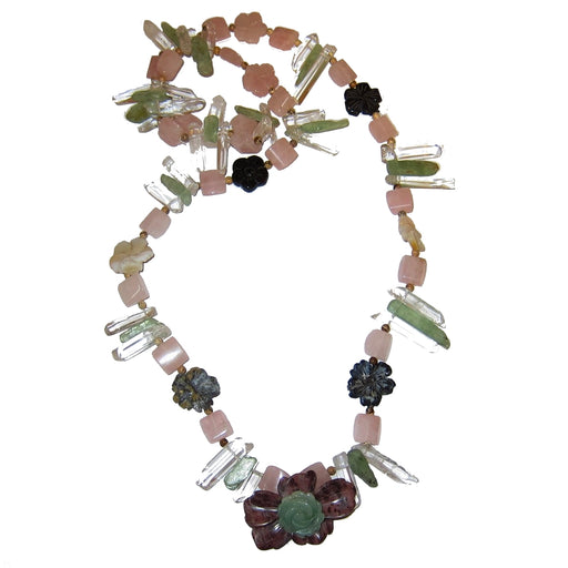Crystal Medley Necklace 02 Flower Goddess Quartz Pink Rose Jasper Green Kyanite Aventurine 36""
