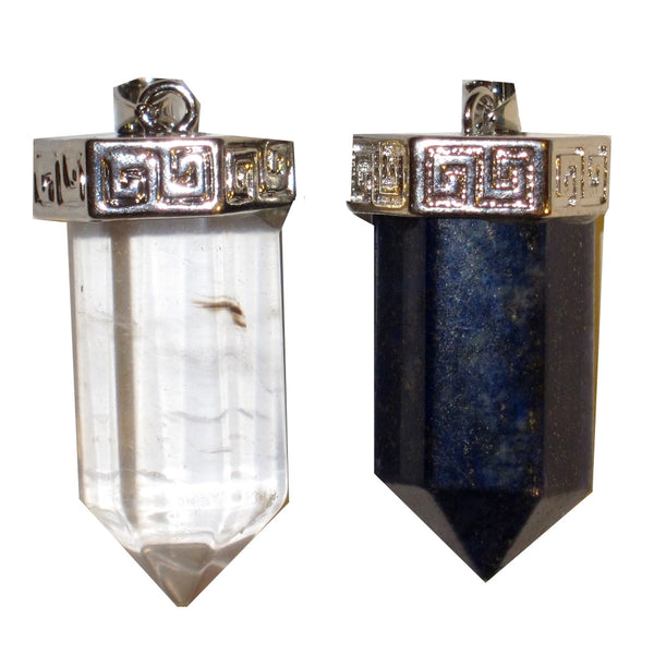 "Crystal Pendant Set 1.8"" Clear Quartz & Blue Lapis Point Positive Natural Energy Stones 32"