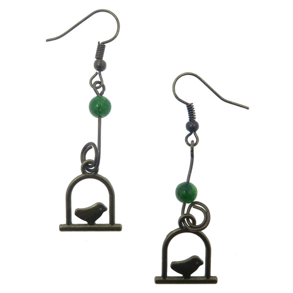 "Diopside Earrings 2"" Cute Swinging Bird Charm Rare Green Gemstone Animal Dangle B01"