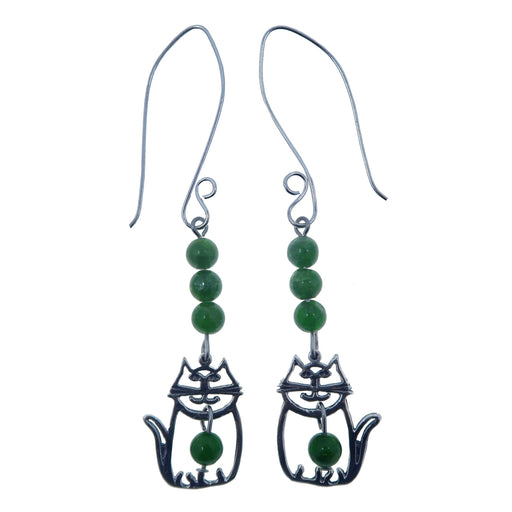 sterling silver cat and green diopside gemstone earrings