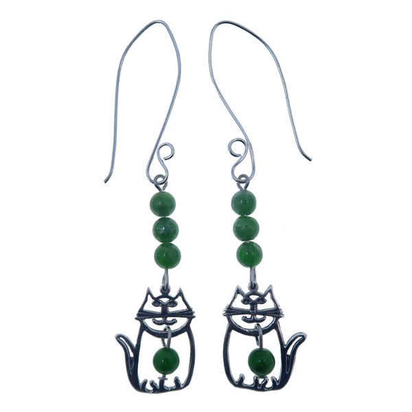 "Diopside Earrings 3"" Cat Charm Genuine Green Gemstone Sterling Silver Animal Dangle B02"