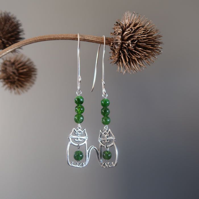 Diopside Earrings Fat Cat of Riches with Rare Green Gemstones