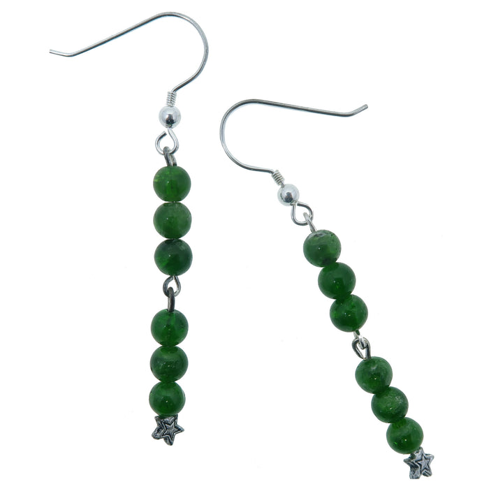 "Diopside Earrings 2.5"" Star Rare Genuine Green Chrome Gemstone Dangle"
