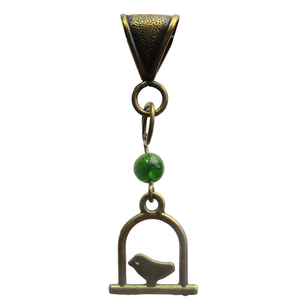 "Diopside Pendant 1.7"" Boutique Bird Swing Charm Genuine Green Gemstone Animal Handmade B01"
