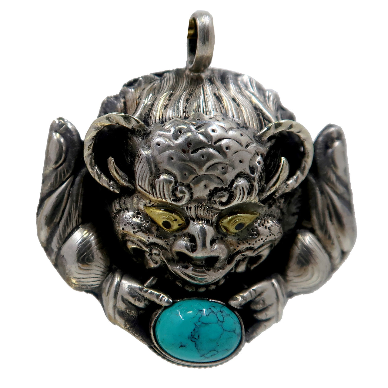 "Dragon Pendant 1.9"" Boutique Tibetan Silver Green Gemstone Unisex Beast Charm B01 (Turquoise)"