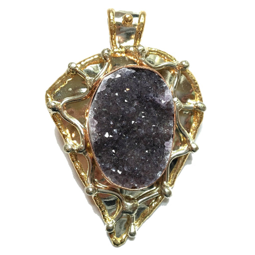 Druzy Quartz Pendant 22 Purple Amethyst Copper Metal Stone - I Dig Crystals