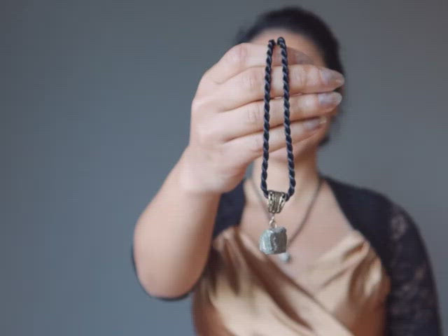 video featuring pyrite nugget necklace