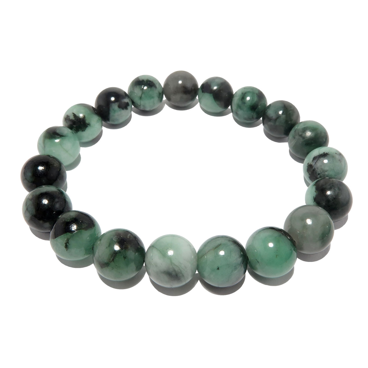 Emerald Bracelet 9mm Boutique Genuine Untreated Gemstone Green Black Round Stretch B01