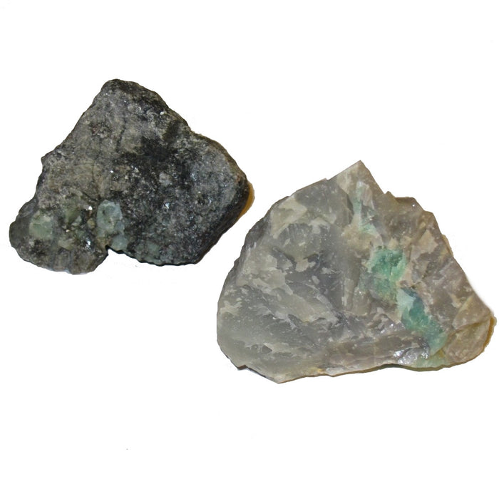 "Emerald Raw Gemstone Cluster 2.5"" Collectible Set of 2 Green Triangle Mountain Mineral Powerful Meditation Energy C07"