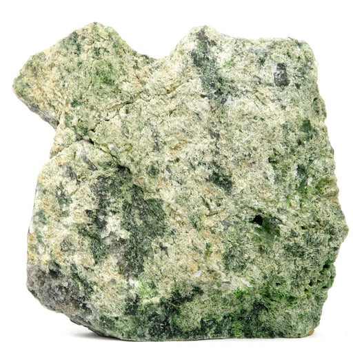 rough green epidote standing mineral stone