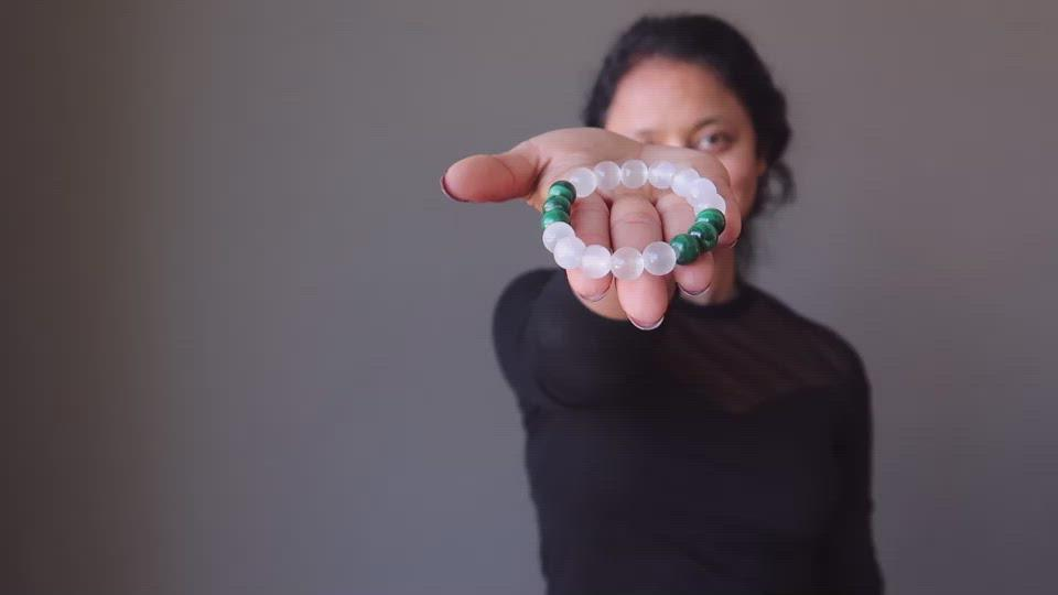 selenite malachite bracelet video
