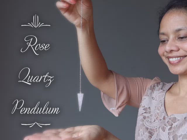 video featuring rose quartz pendulum