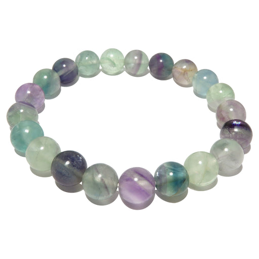 rainbow fluorite beaded stretch bracelet