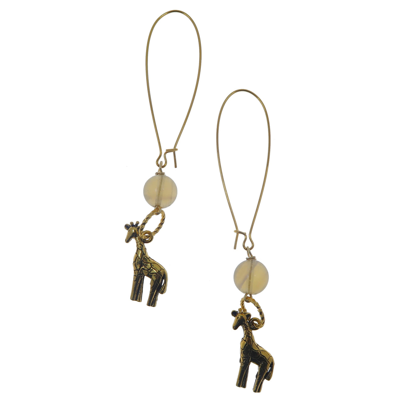 "Fluorite Earrings 3.5"" Golden Giraffe Yellow Gemstone Animal Lover Big Long Statement B01"