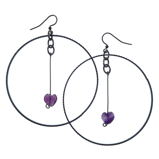 "Fluorite Purple Earrings 3.5"" Boutique Purple Heart Crystal Healing Stone Big Black Hoop B01"
