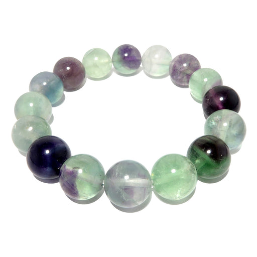 rainbow fluorite beaded stretch bracelet in 11-12mm beads