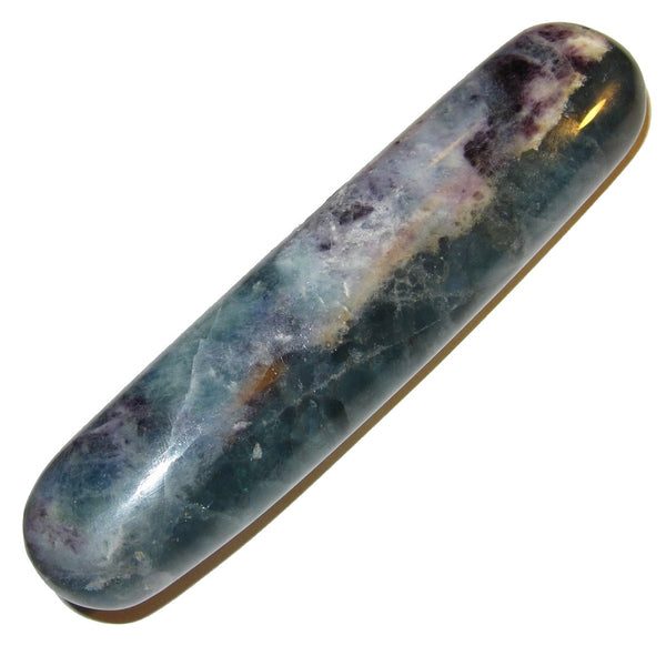 "Fluorite Massage 03 Clear Green Purple Crystal Wand Tension Release Healing Stone 5"" (Gift Box)"