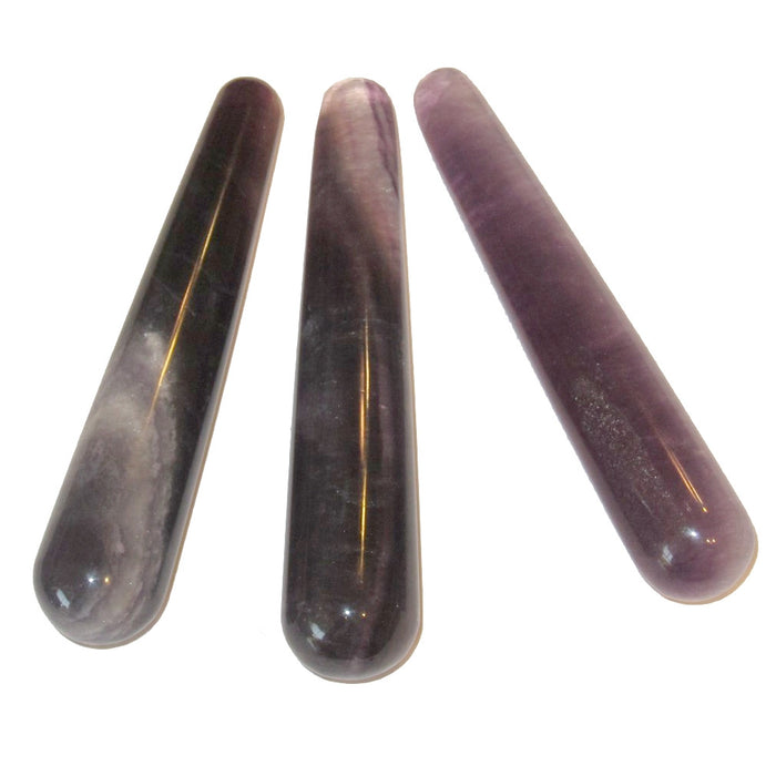 3 fluorite massage wands to demonstrate difference in color and patterns