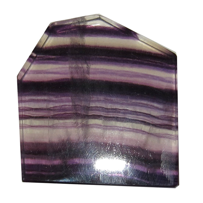 "Fluorite Purple Polished Stone 2"" Collectible Clear Striped House Home Shaped Crystal C50"