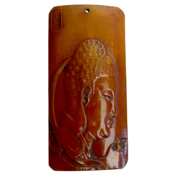 Fossil Ox Bone Pendant Boutique Profile Carving Spiritual B02a (Buddha Head)