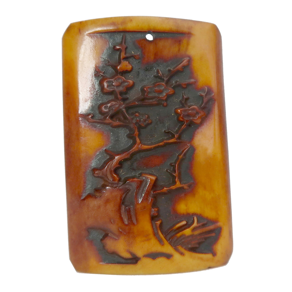 "Fossil Ox Bone Pendant 2"" Boutique Flowering Tree Carving Orange B03"