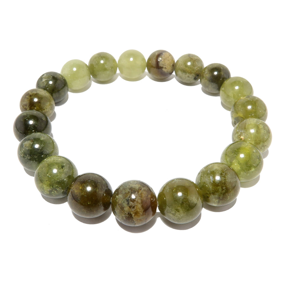 genuine green grossular garnet stretch bracelet beaded with natural round stone beads, handmade at satin crystals jewelry studio