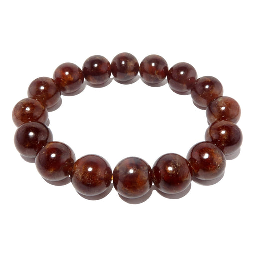 Garnet Hessonite Bracelet 10mm Stretch Deep Orange Red Round Crystal Healing