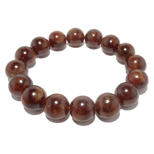reddish orange hessonite garnet beaded stretch bracelet