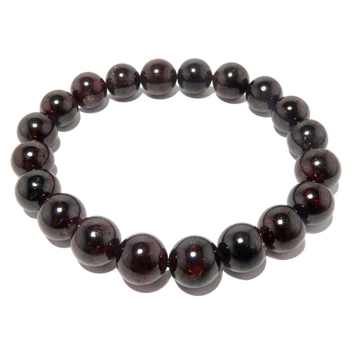 dark red garnet round beaded stretch bracelet in 10mm beads