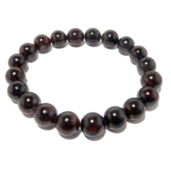 Garnet Red Bracelet 10mm Boutique Crystal Healing Gemstone Round Stretch Dark B01