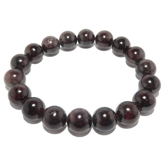 dark red garnet beaded stretch bracelet in 12mm beads