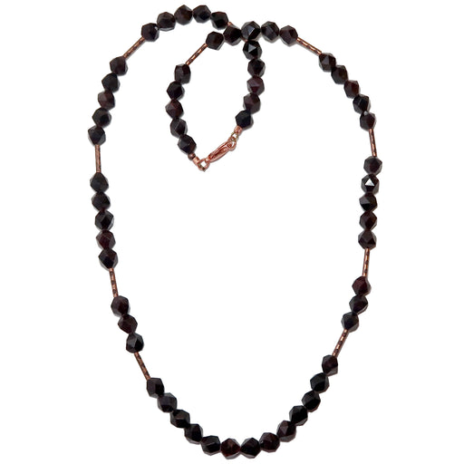 Garnet Red Necklace Beaded Antiqued Copper Big Faceted Dark Gemstone