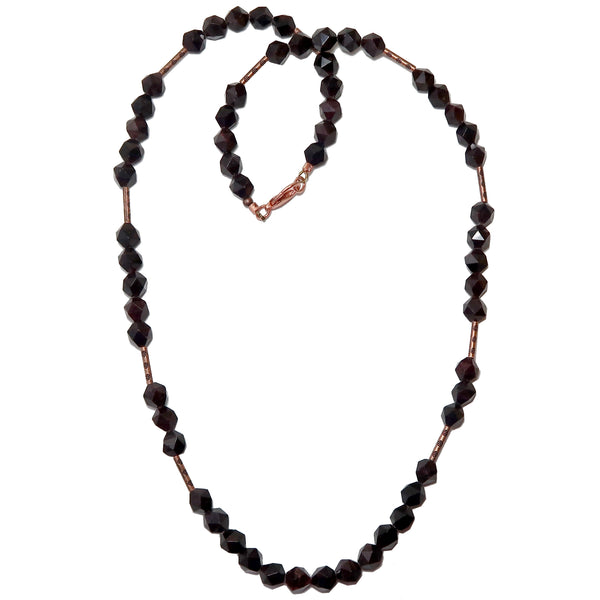Garnet Red Necklace Boutique Antiqued Copper Big Faceted Dark Gemstone Beaded B01
