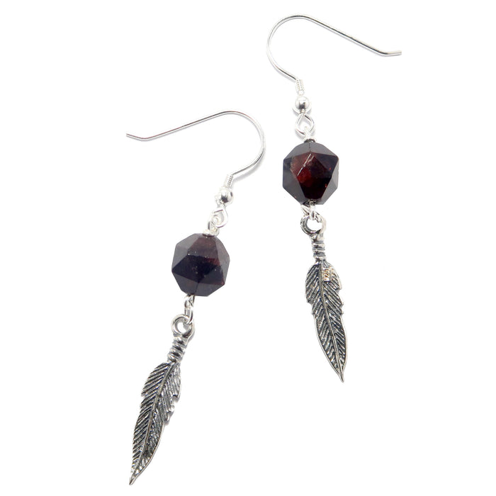 Garnet Red Earrings Faceted Round Gemstone Sterling Silver Feather