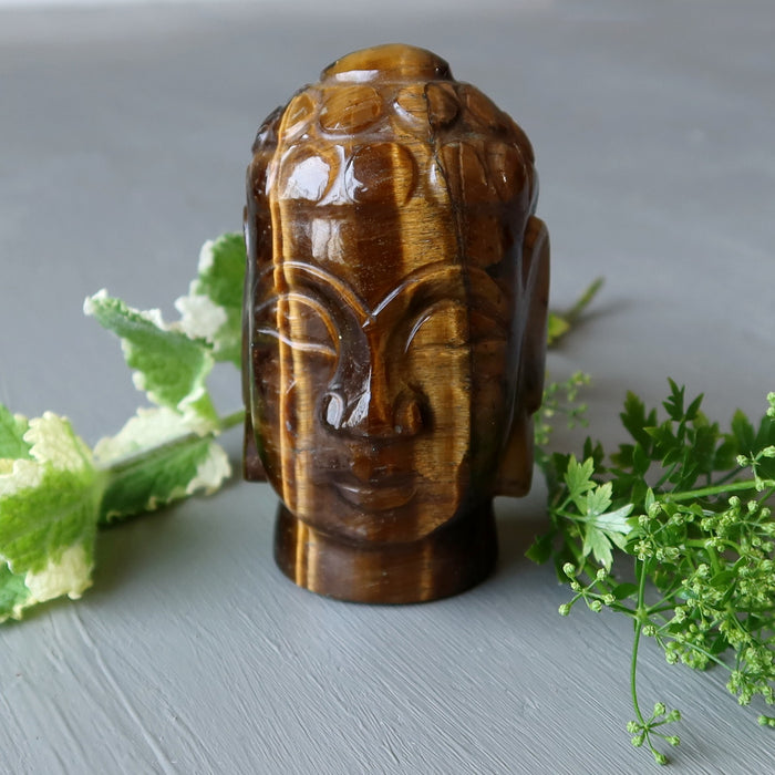golden brown tigers eye buddha head and greenery