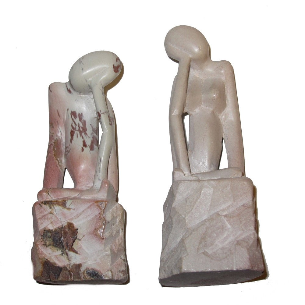"God Adam Eve Soapstone 4.2"" Collectible Man & Woman Sculpture Statue Pair Pink Cream Crystal Healing Stones C01"
